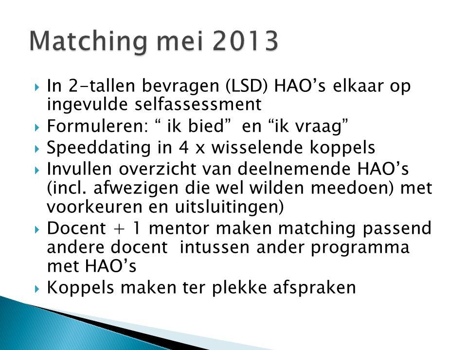 Matching mei 2013 In 2-tallen bevragen (LSD) HAO's elkaar op ingevulde selfassessment. Formuleren: ik bied en ik vraag