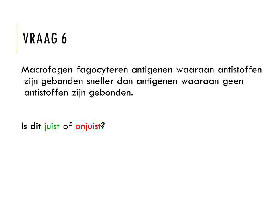 Vraag 6 Macrofagen fagocyteren antigenen waaraan antistoffen zijn gebonden sneller dan antigenen waaraan geen antistoffen zijn gebonden.