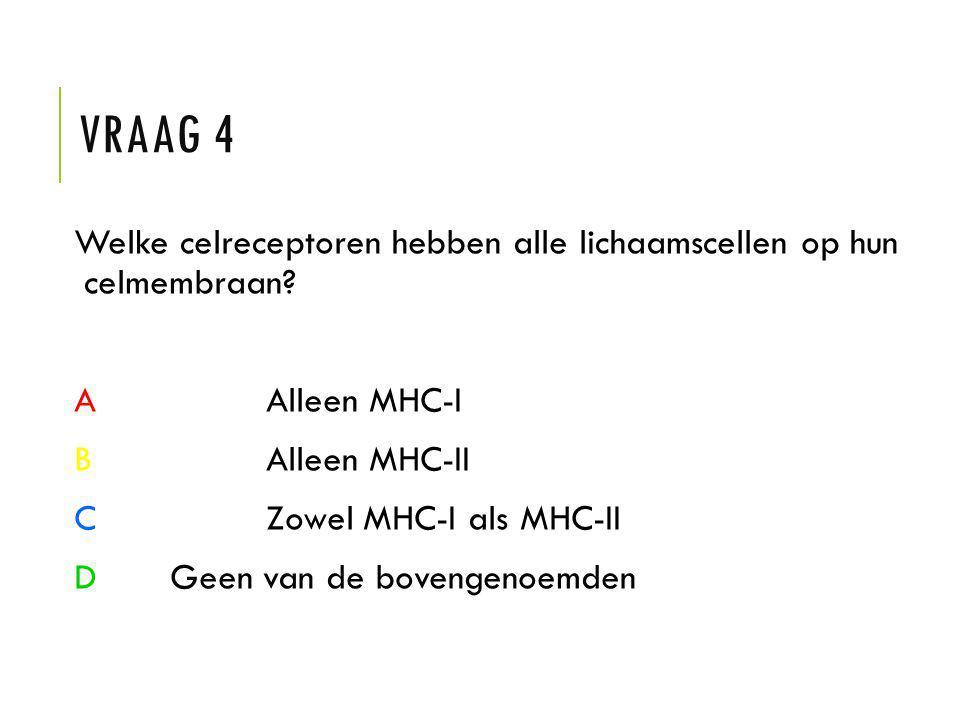 Vraag 4 Welke celreceptoren hebben alle lichaamscellen op hun celmembraan A Alleen MHC-I. B Alleen MHC-II.