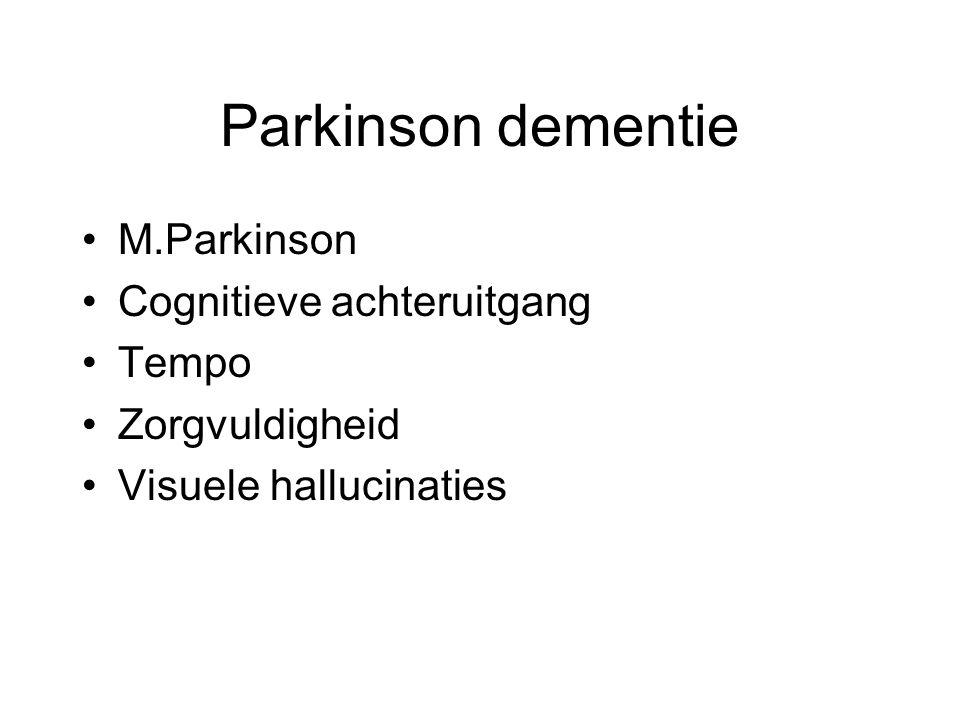 Parkinson dementie M.Parkinson Cognitieve achteruitgang Tempo