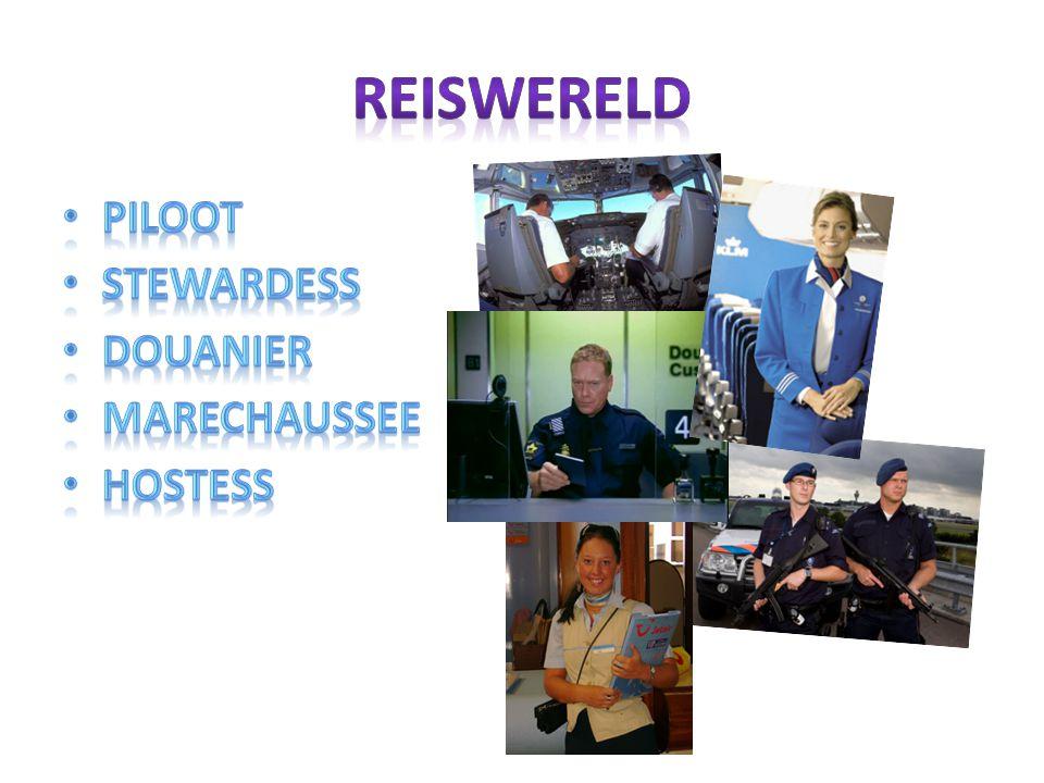 Reiswereld Piloot Stewardess Douanier Marechaussee Hostess