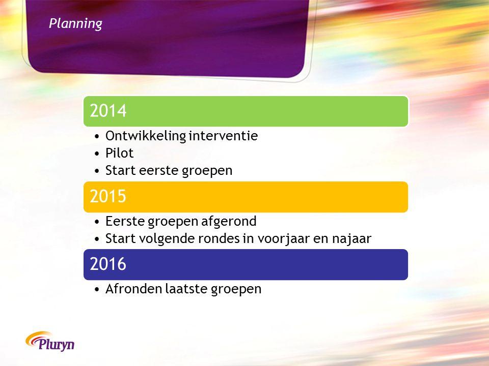2014 2015 2016 Planning Ontwikkeling interventie Pilot