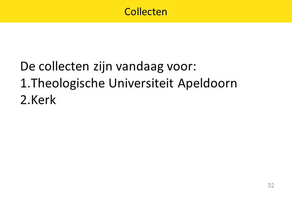 De collecten zijn vandaag voor: Theologische Universiteit Apeldoorn