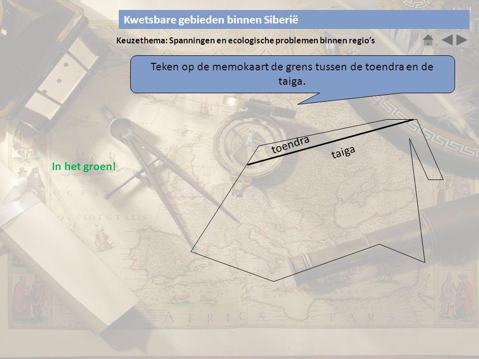 Teken op de memokaart de grens tussen de toendra en de taiga.