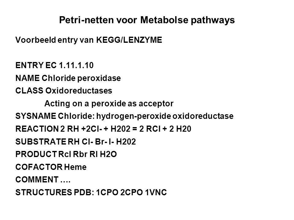 Petri-netten voor Metabolse pathways