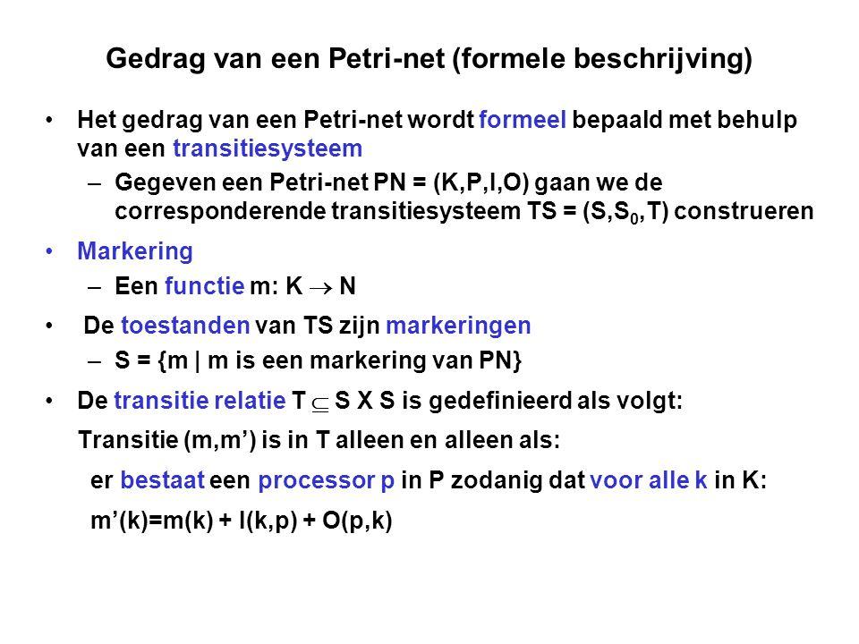 Gedrag van een Petri-net (formele beschrijving)