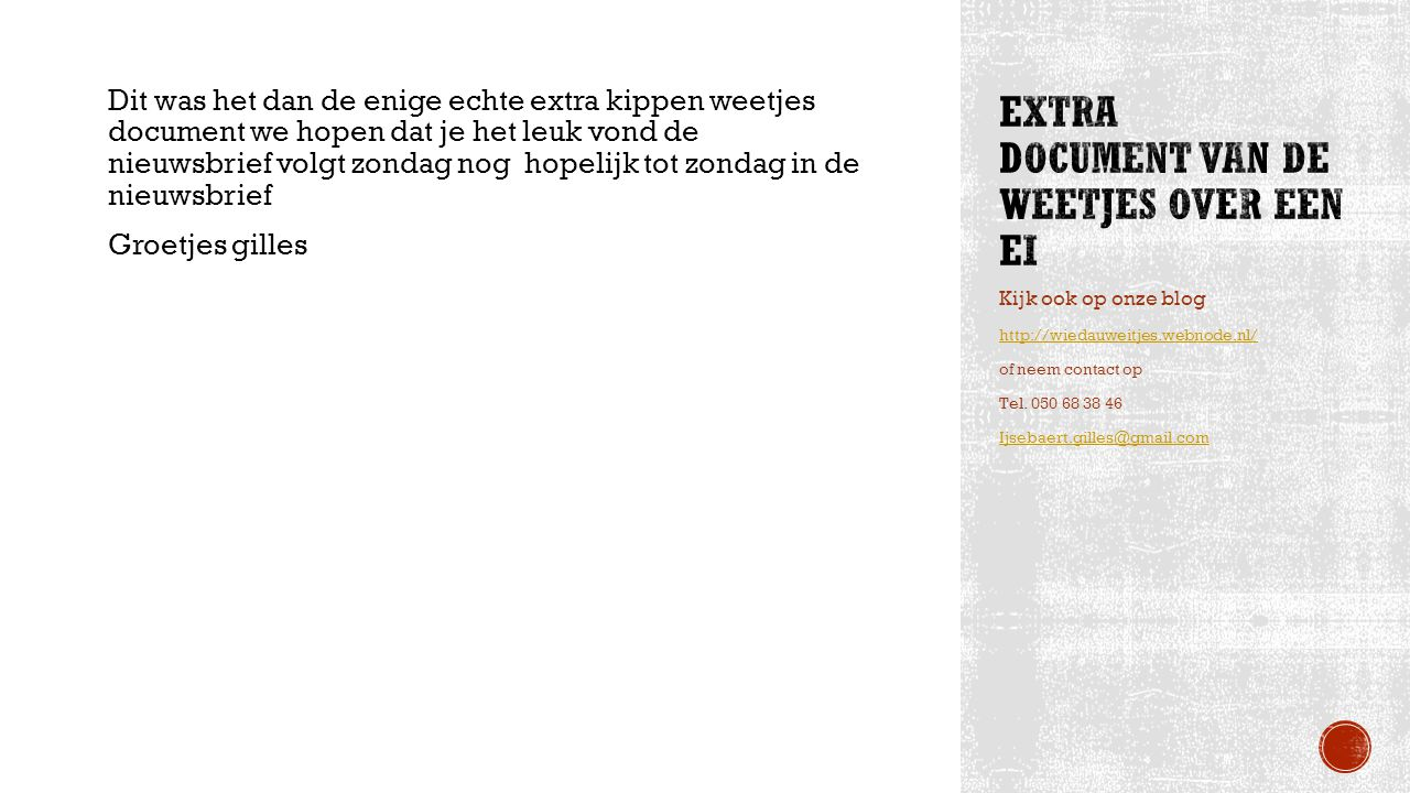 Extra document van de weetjes over een ei