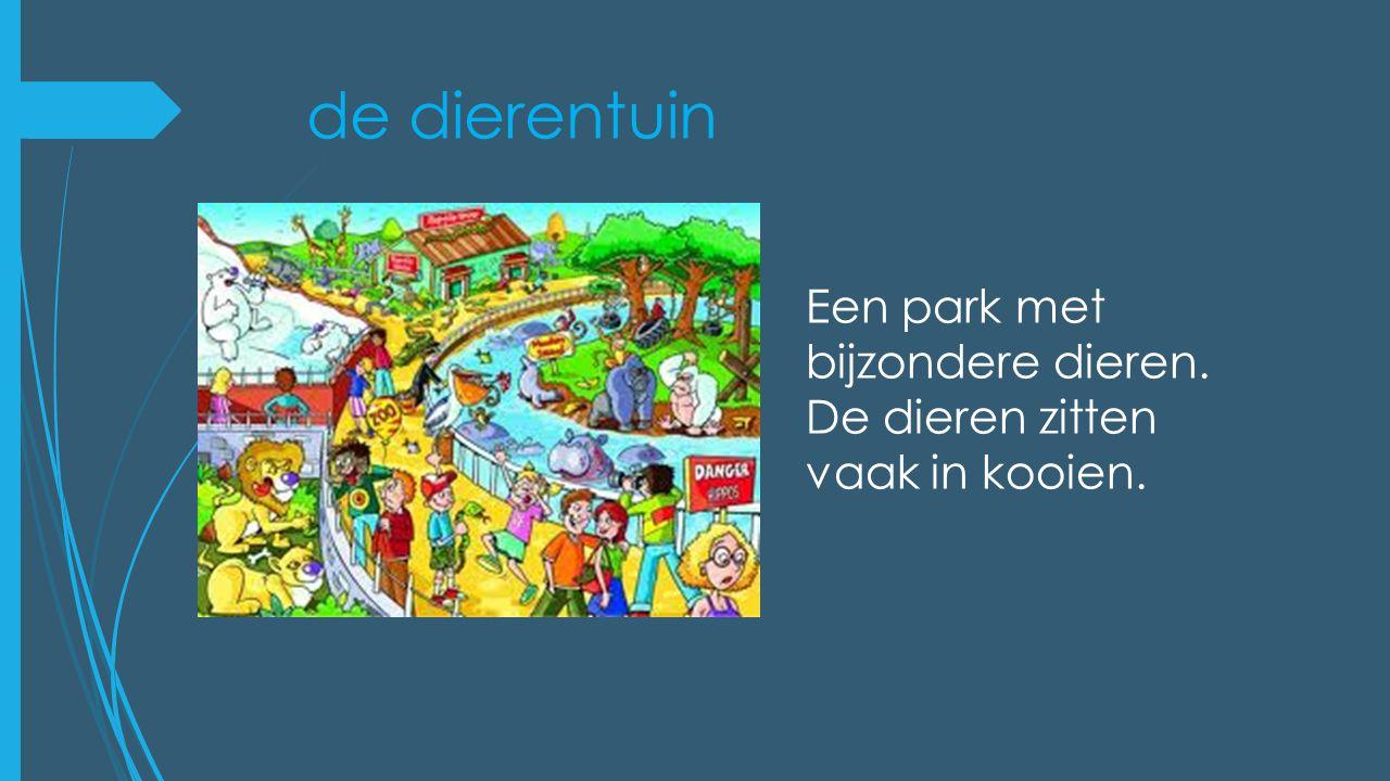 de dierentuin Een park met bijzondere dieren.