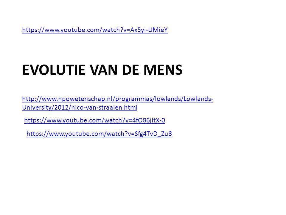 EVOLUTIE VAN DE MENS https://www.youtube.com/watch v=Ax5yi-UMieY