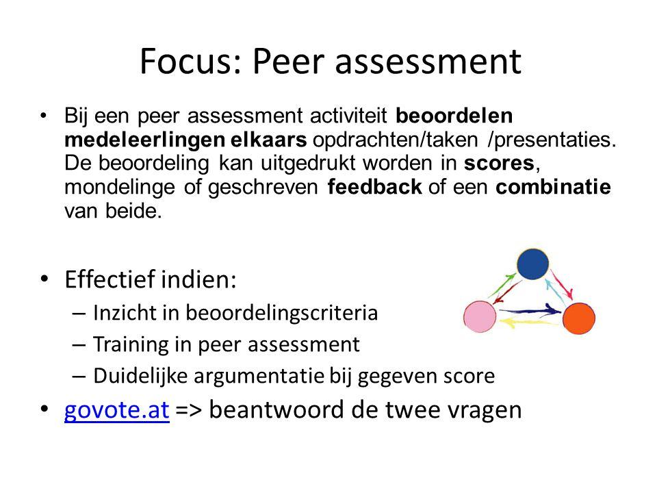 Focus: Peer assessment