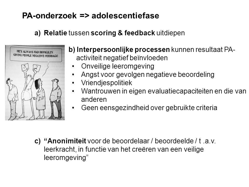 PA-onderzoek => adolescentiefase
