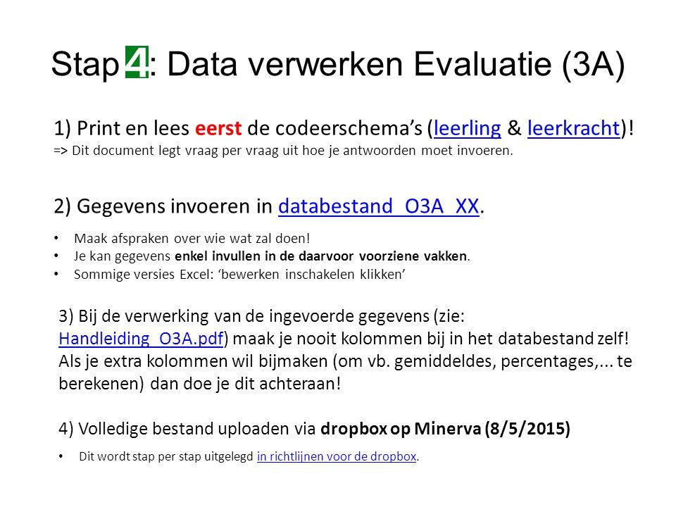 Stap : Data verwerken Evaluatie (3A)