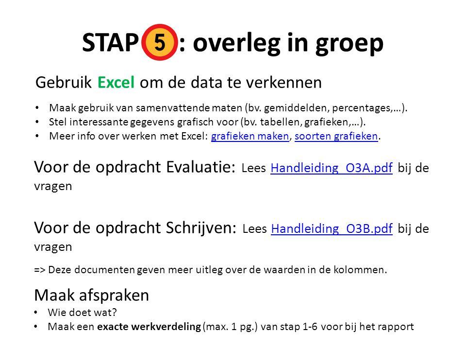 STAP : overleg in groep Gebruik Excel om de data te verkennen
