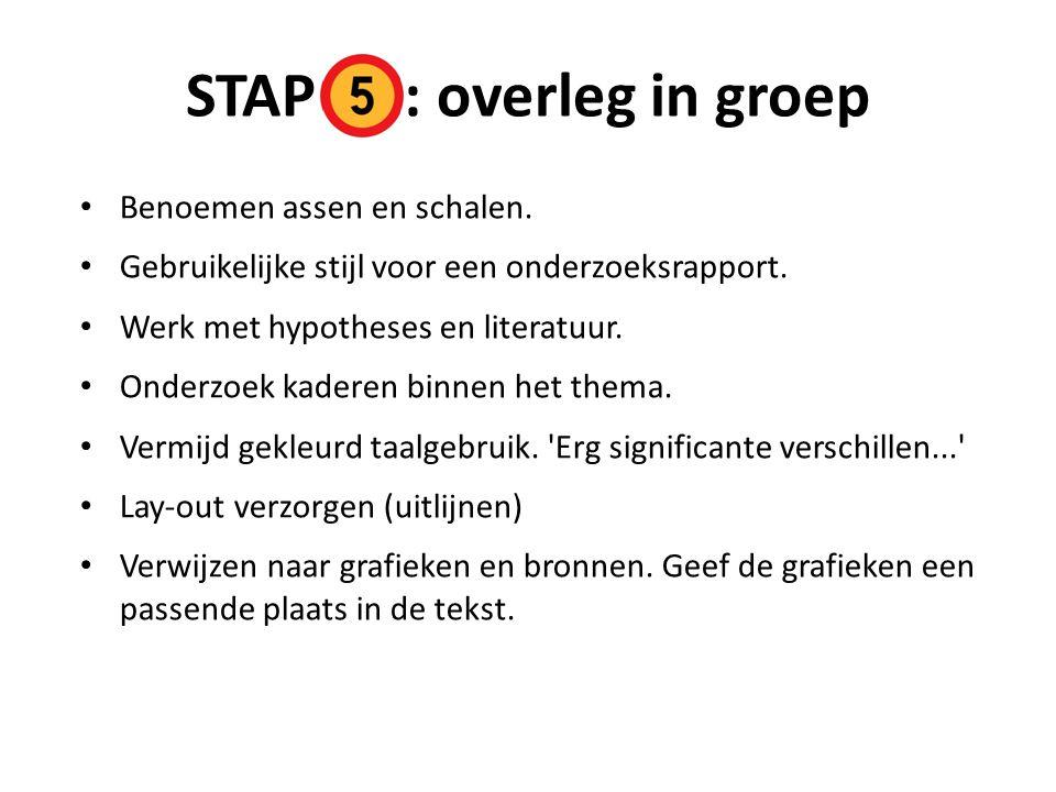 STAP : overleg in groep Benoemen assen en schalen.