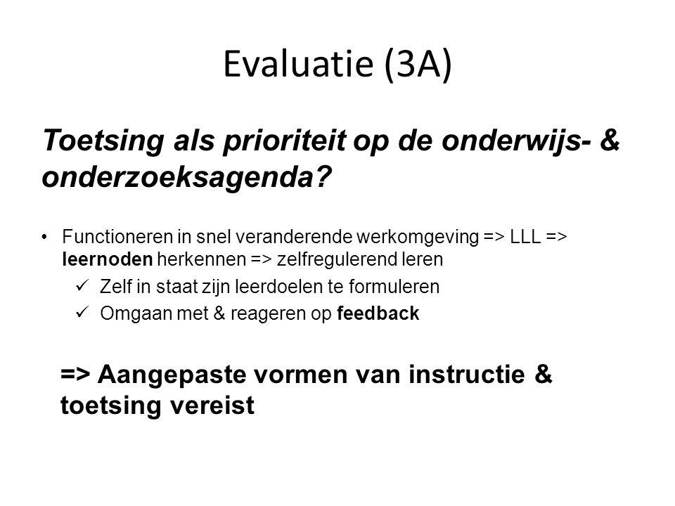 Evaluatie (3A) Toetsing als prioriteit op de onderwijs- & onderzoeksagenda