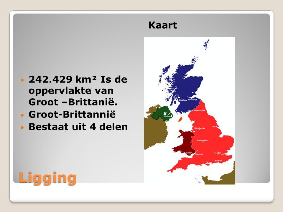 Ligging Kaart 242.429 km² Is de oppervlakte van Groot –Brittanië.