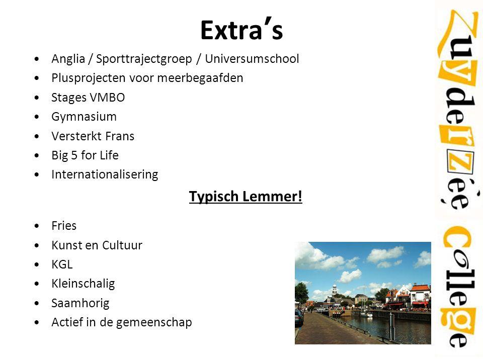 Extra's Typisch Lemmer! Anglia / Sporttrajectgroep / Universumschool