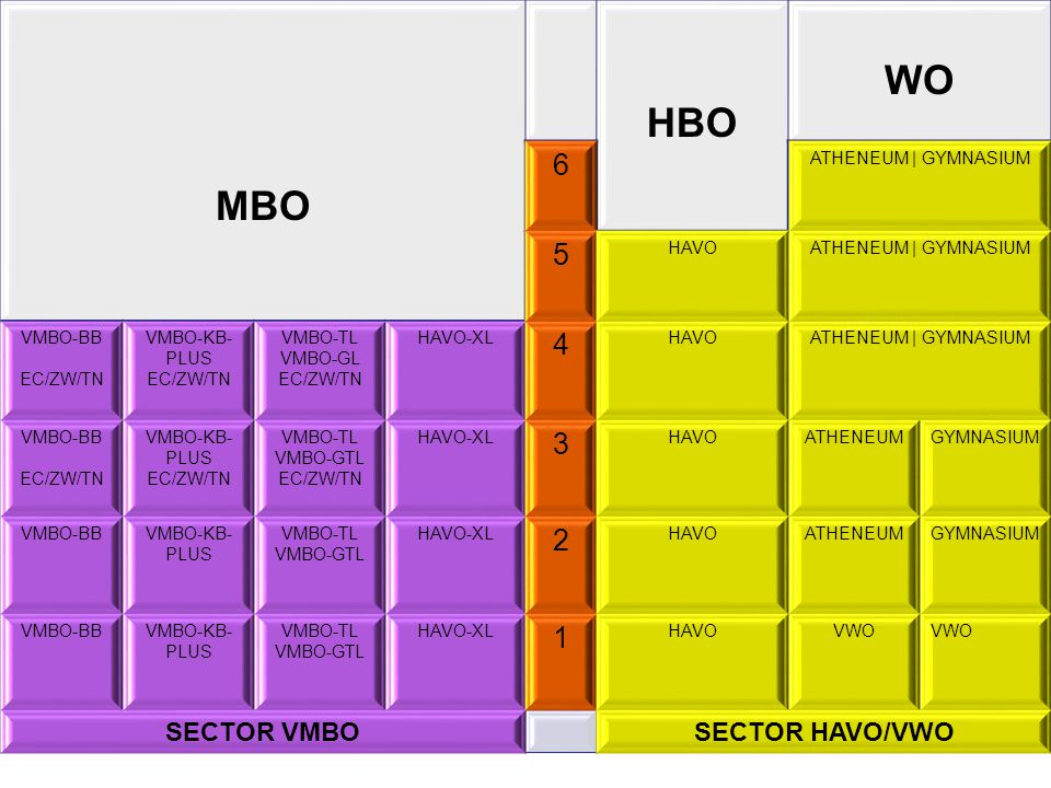 WO HBO MBO 6 5 4 3 2 1 SECTOR VMBO SECTOR HAVO/VWO