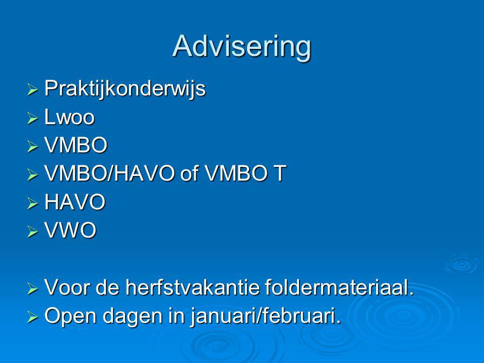 Advisering Praktijkonderwijs Lwoo VMBO VMBO/HAVO of VMBO T HAVO VWO