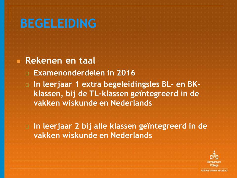 BEGELEIDING Rekenen en taal Examenonderdelen in 2016