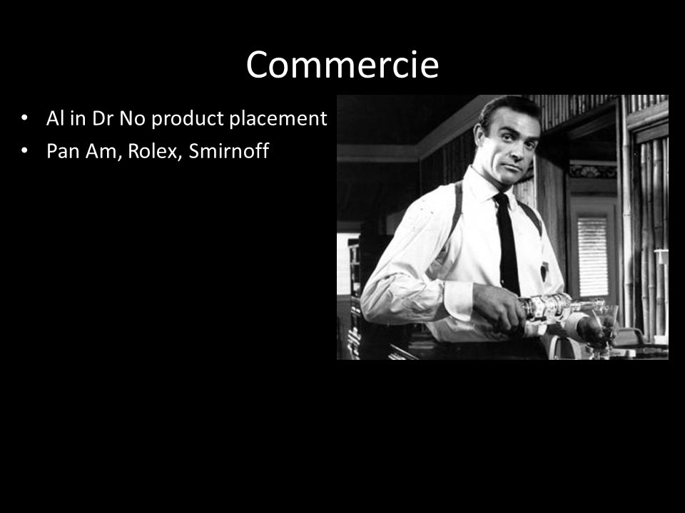 Commercie Al in Dr No product placement Pan Am, Rolex, Smirnoff