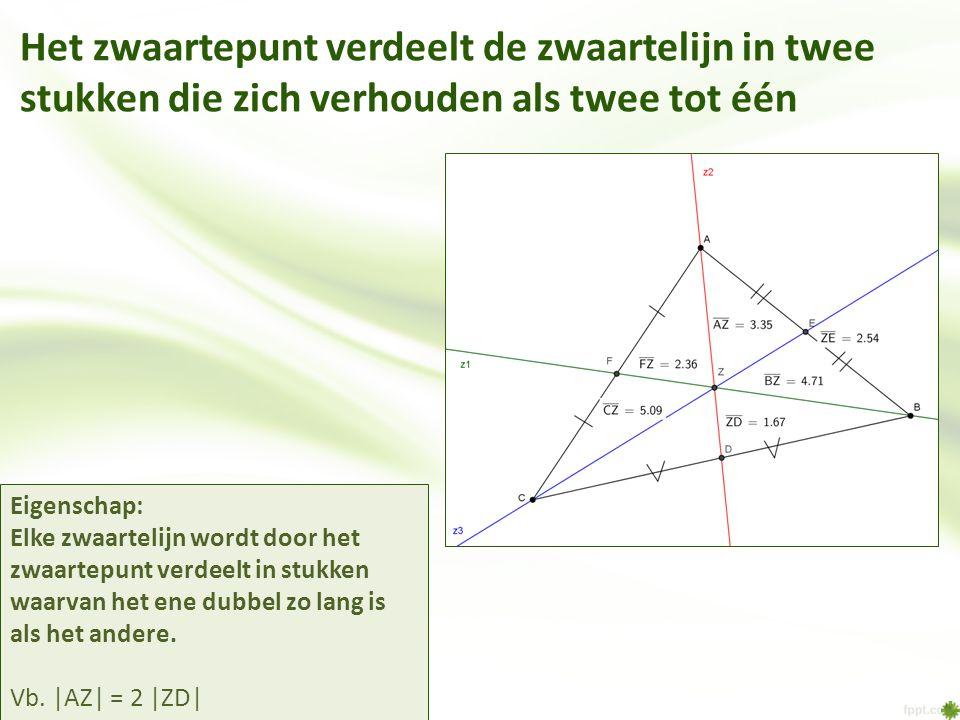 Het zwaartepunt verdeelt de zwaartelijn in twee stukken die zich verhouden als twee tot één