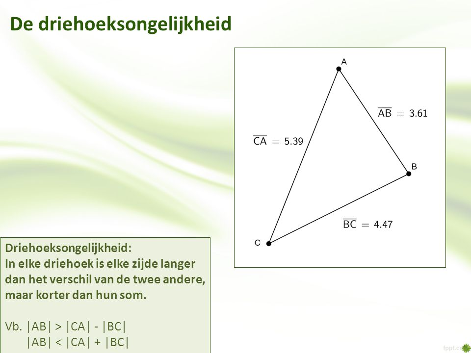 De driehoeksongelijkheid