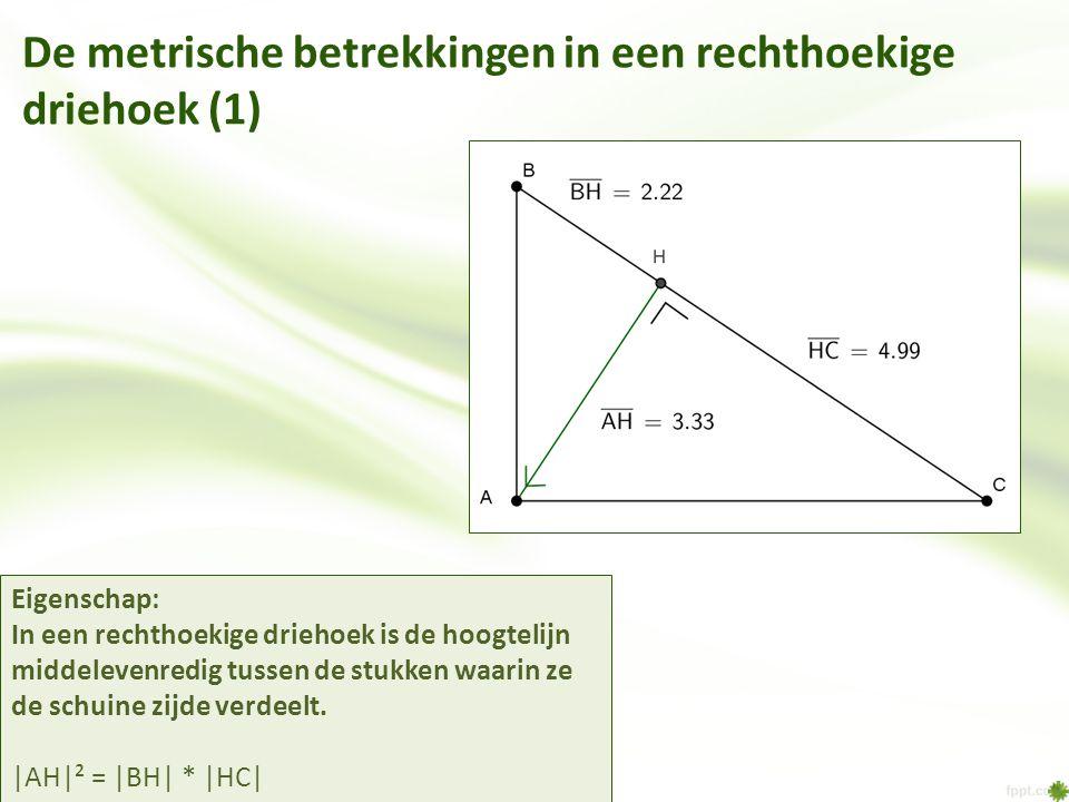 De metrische betrekkingen in een rechthoekige driehoek (1)