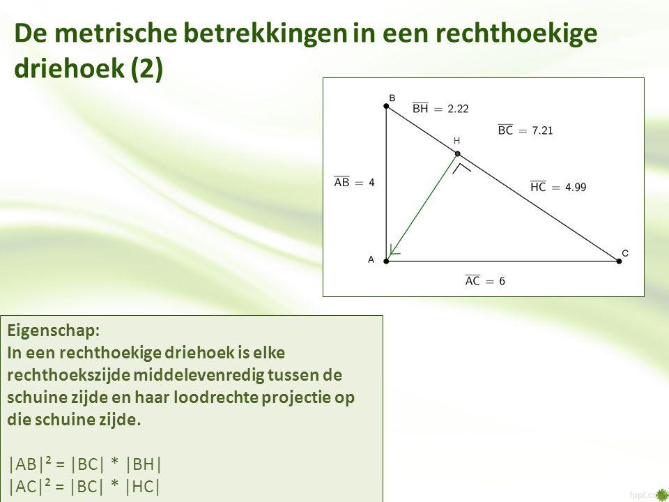 De metrische betrekkingen in een rechthoekige driehoek (2)