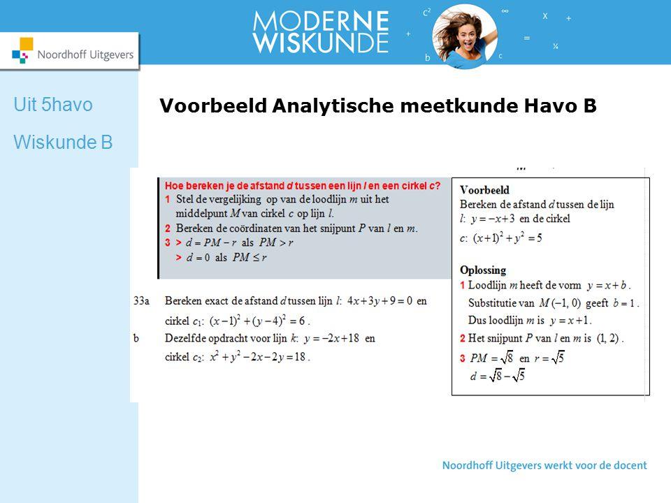 Voorbeeld Analytische meetkunde Havo B