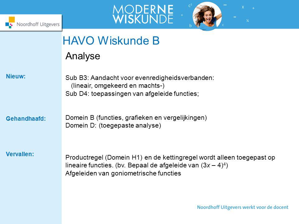 HAVO Wiskunde B Analyse