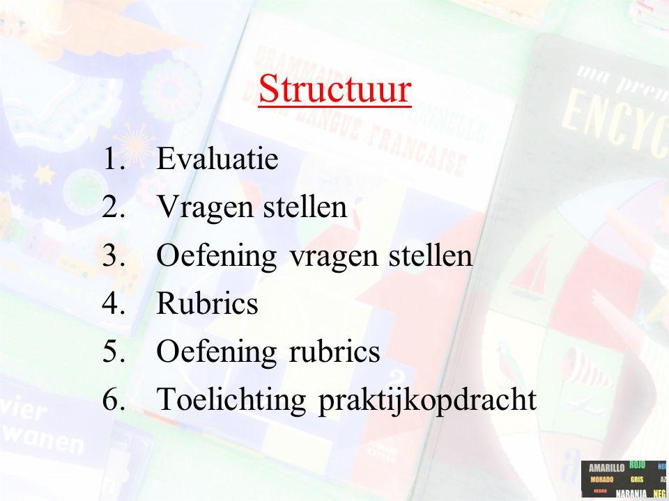 Structuur Evaluatie Vragen stellen Oefening vragen stellen Rubrics