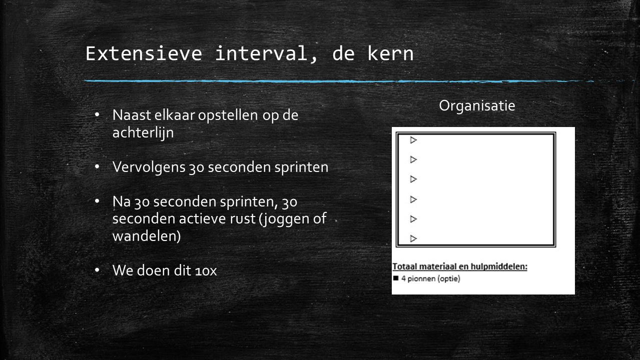 Extensieve interval, de kern