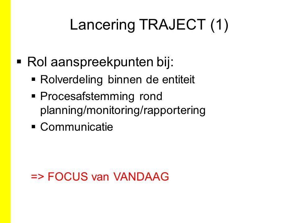 Lancering TRAJECT (1) Rol aanspreekpunten bij: