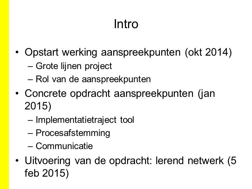 Intro Opstart werking aanspreekpunten (okt 2014)