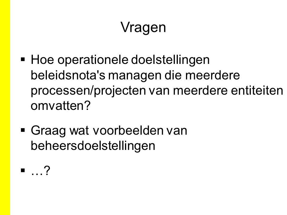 Vragen Hoe operationele doelstellingen beleidsnota s managen die meerdere processen/projecten van meerdere entiteiten omvatten