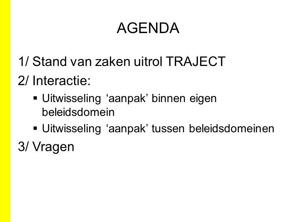 AGENDA 1/ Stand van zaken uitrol TRAJECT 2/ Interactie: 3/ Vragen