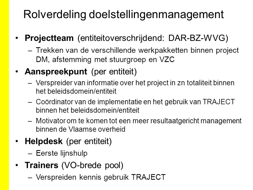 Rolverdeling doelstellingenmanagement