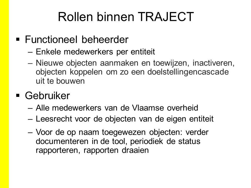 Rollen binnen TRAJECT Functioneel beheerder Gebruiker