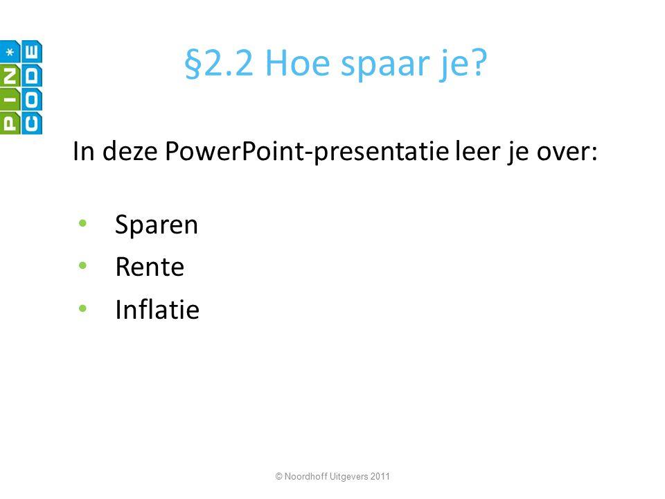 §2.2 Hoe spaar je In deze PowerPoint-presentatie leer je over: Sparen