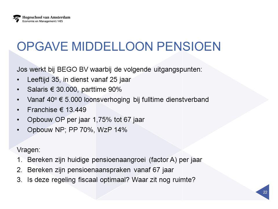 Opgave middelloon pensioen