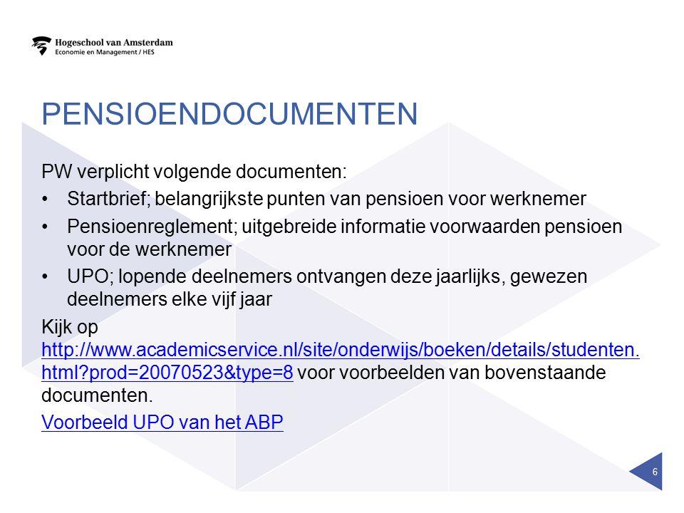 Pensioendocumenten PW verplicht volgende documenten: