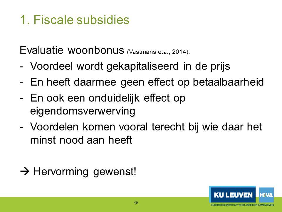 1. Fiscale subsidies Evaluatie woonbonus (Vastmans e.a., 2014):