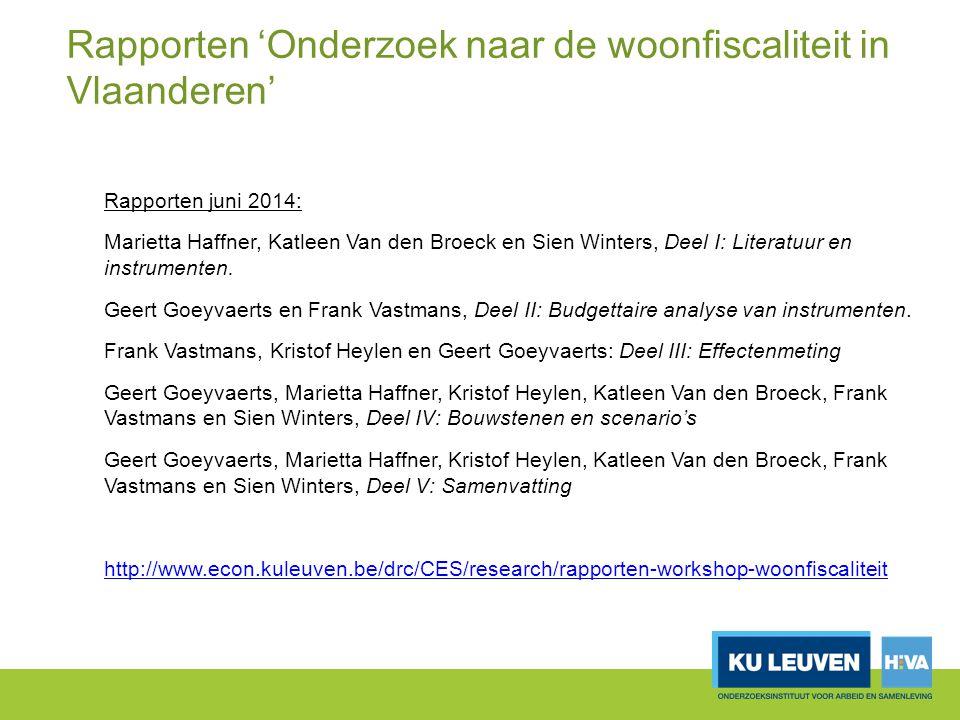 Rapporten 'Onderzoek naar de woonfiscaliteit in Vlaanderen'