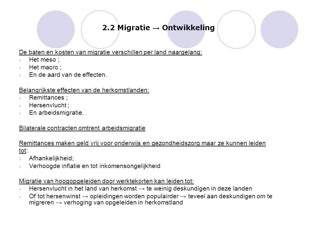 2.2 Migratie → Ontwikkeling