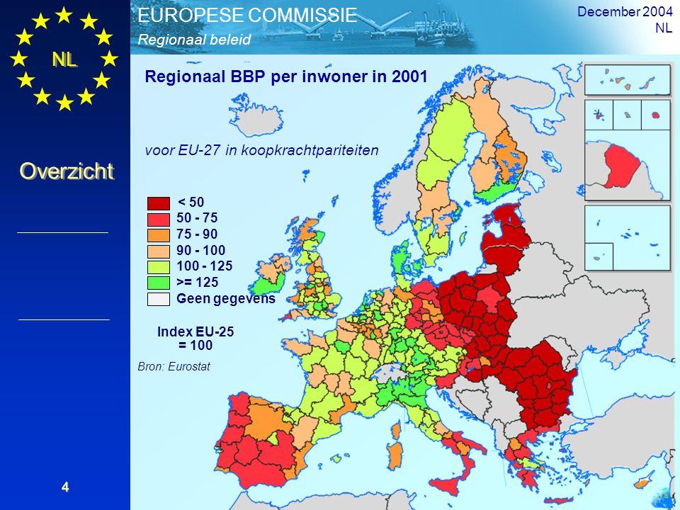 Regionaal BBP per inwoner in 2001