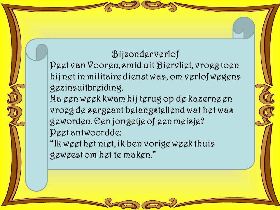 Bijzonder verlof Peet van Vooren, smid uit Biervliet, vroeg toen hij net in militaire dienst was, om verlof wegens gezinsuitbreiding.