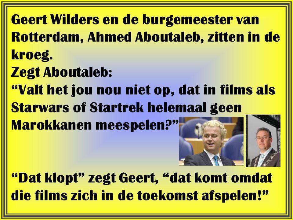 Geert Wilders en de burgemeester van Rotterdam, Ahmed Aboutaleb, zitten in de kroeg.