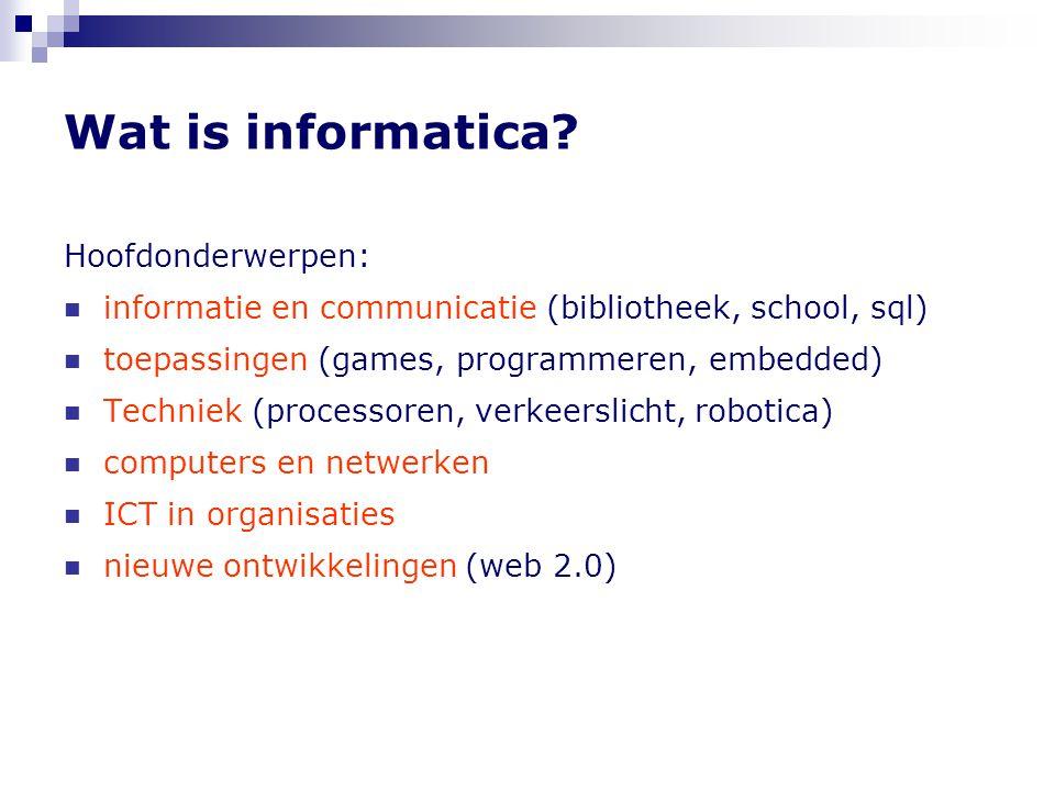 Wat is informatica Hoofdonderwerpen: