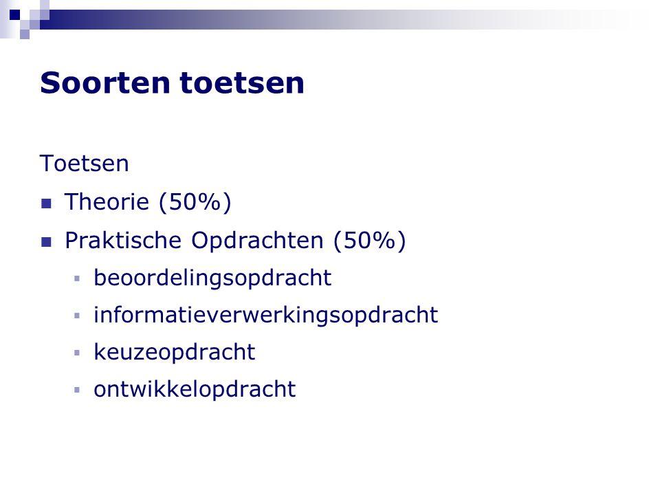 Soorten toetsen Toetsen Theorie (50%) Praktische Opdrachten (50%)